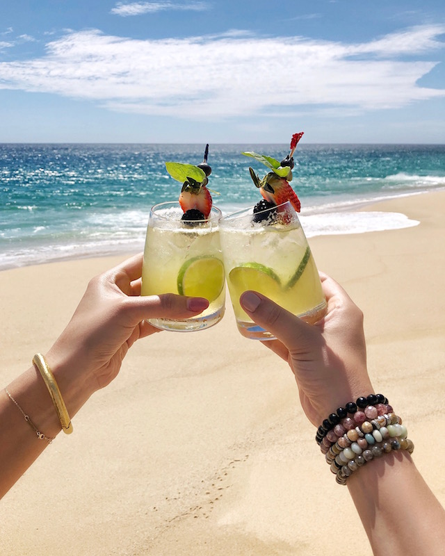 Beach cocktails at Pueblo Bonito Pacifica in Cabo