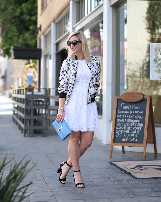 Sail to Sable dress, Forever 21 floral bomber jacket, Henri Bendel clutch, Quay sunglasses