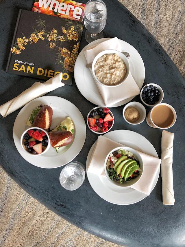 Room service breakfast at Hyatt Regency La Jolla