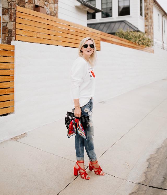 Parks Project sweatshirt, boyfriend jeans, Cult Gaia clutch, cabi heels | My Style Diaries blogger Nikki Prendergast