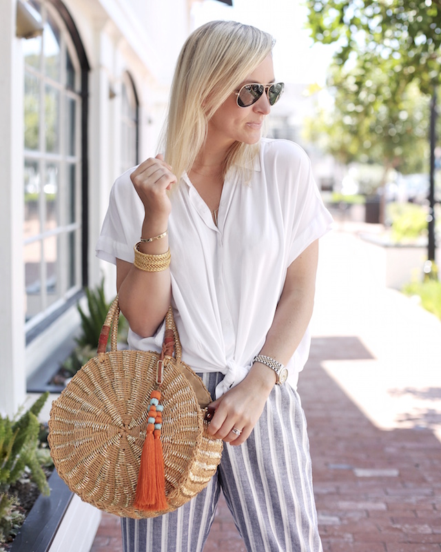 Bella Dahl striped pants, Sam Edelman handbag, tie waist blouse | My Style Diaries blogger Nikki Prendergast