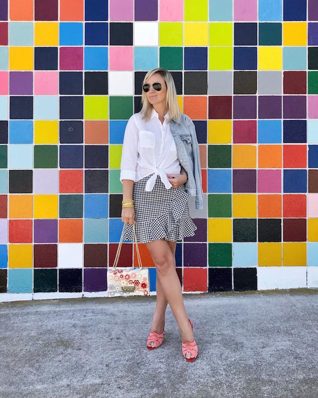 Forever 21 gingham skirt, Lilly Pulitzer shirt, Sarah Flint heels, Levi's jacket, Zac Zac Posen handbag | My Style Diaries blogger Nikki Prendergast