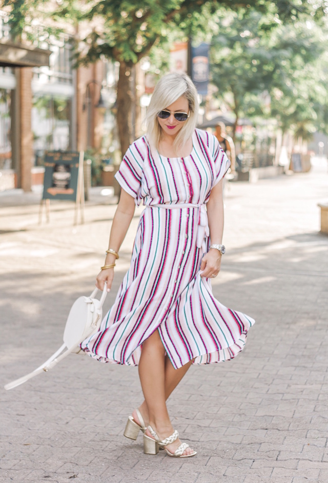 Charles Henry striped dress, Rebecca Minkoff braided heels, round handbag | My Style Diaries blogger Nikki Prendergast