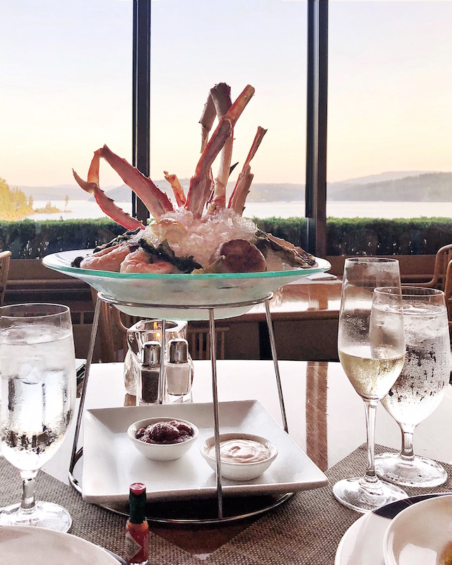 Seafood tower at Beverly's at the Coeur d'Alene Resort
