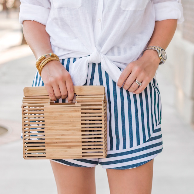 Wayf striped shorts, Lilly Pulitzer linen shirt, Dolce Vita wedges | My Style Diaries blogger Nikki Prendergast
