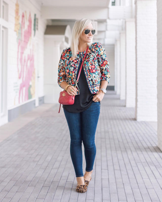 Madewell high rise denim, leopard mules, and a $20 printed jacket for fall | My Style Diaries blogger Nikki Prendergast