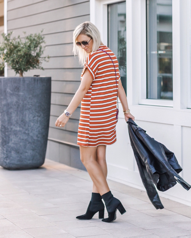 Styling a t-shirt dress and sock booties for fall | My Style Diaries blogger Nikki Prendergast