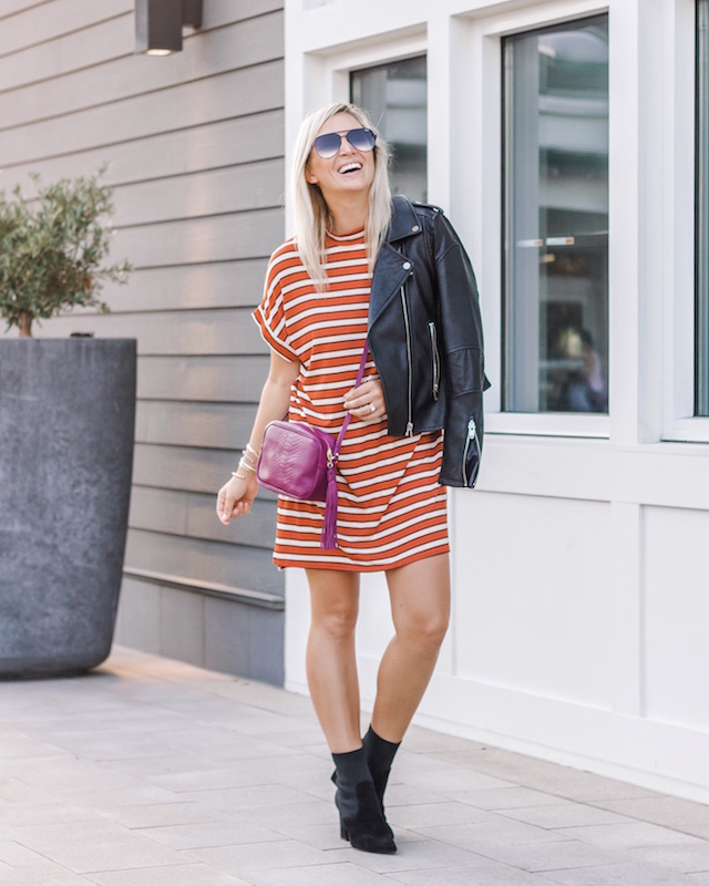 Styling a t-shirt dress for fall | My Style Diaries blogger Nikki Prendergast
