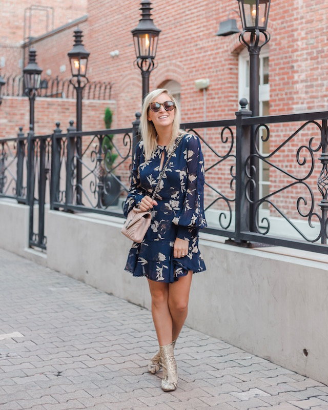 floral dress with snake-print booties | My Style Diaries blogger Nikki Prendergast