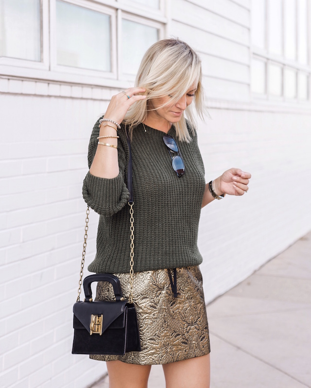 Zadig & Voltaire metallic mini, SheIn sweater, Henri Bendel bag, Tretorn sneakers | My Style Diaries blogger Nikki Prendergast