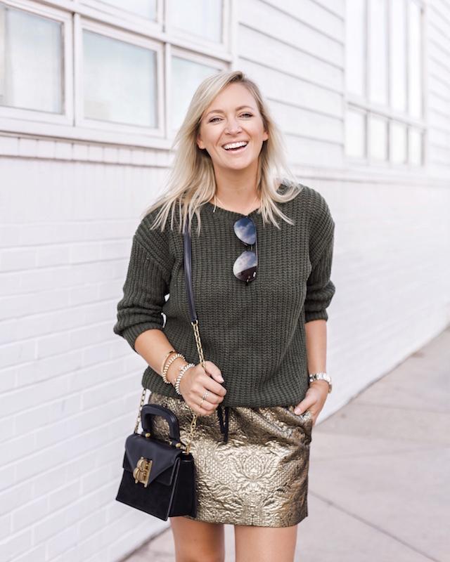 Zadig & Voltaire metallic mini, SheIn sweater, Henri Bendel bag, Tretorn sneakers   My Style Diaries blogger Nikki Prendergast