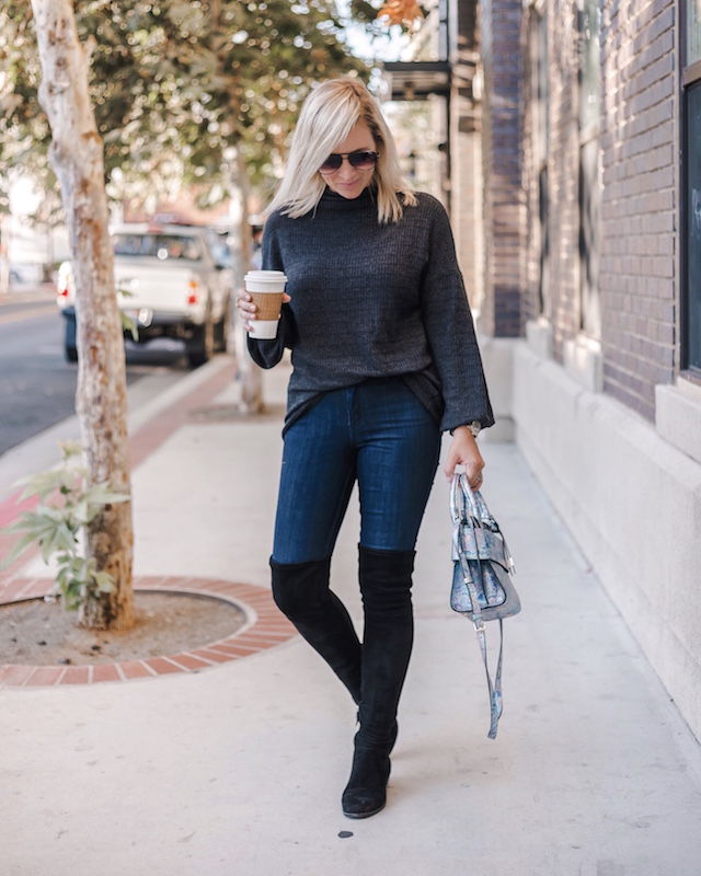 Mott & Bow high rise skinny jeans, over-the-knee boots, Henri Bendel handbag | My Style Diaries blogger Nikki Prendergast