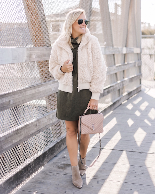Teddy bear bomber, Zara dress, Marc Fisher booties on sale, Saint Laurent handbag | My Style Diaries blogger Nikki Prendergast