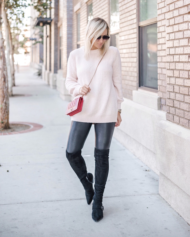 Treasure & Bond sweater, Spanx leggings, Marc Fisher boots, Chanel bag | My Style Diaries blogger Nikki Prendergast