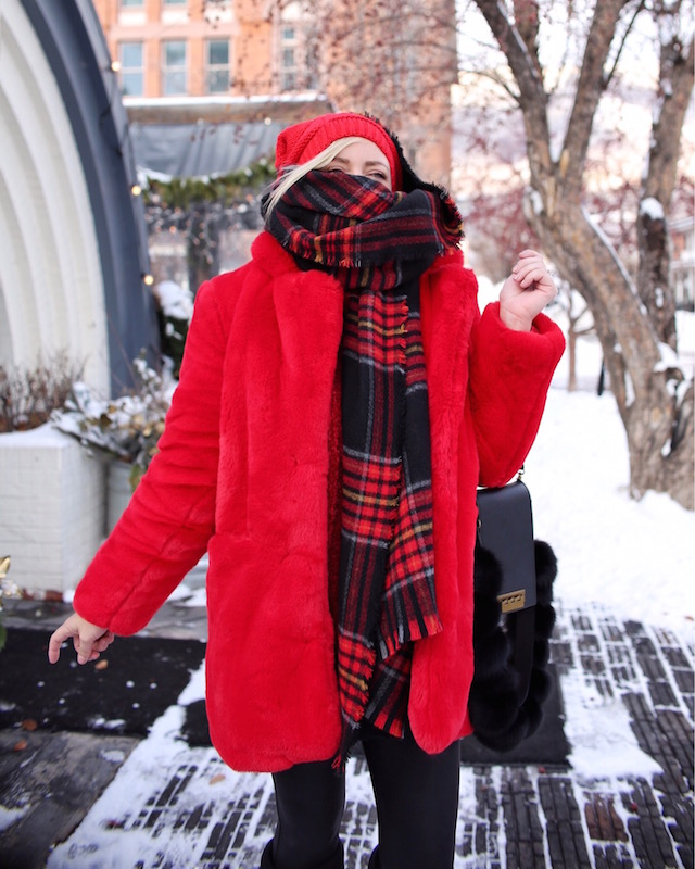 Apparis faux fur coat and plaid scarf | My Style Diaries blogger Nikki Prendergast